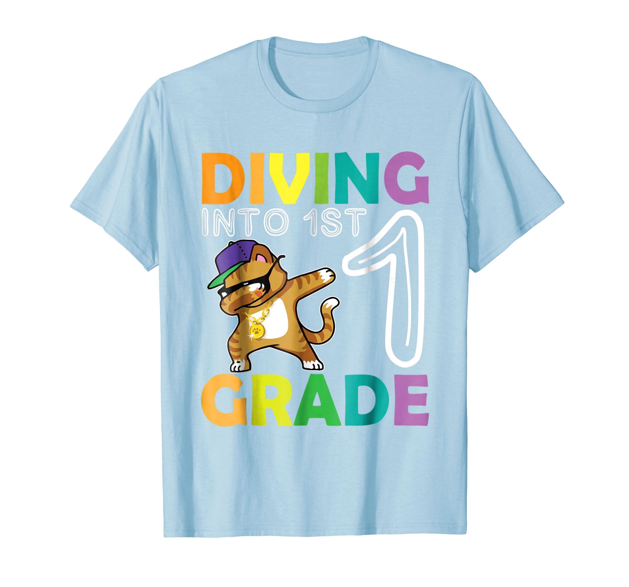Cat Dabbing Diving Into 1ST Grade Tshirt First Day Of School-Awarplus