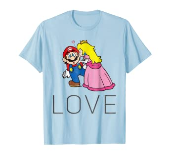 b66700135b91 Image Unavailable. Image not available for. Color: Super Mario Princess  Peach Kiss Love Graphic T-Shirt