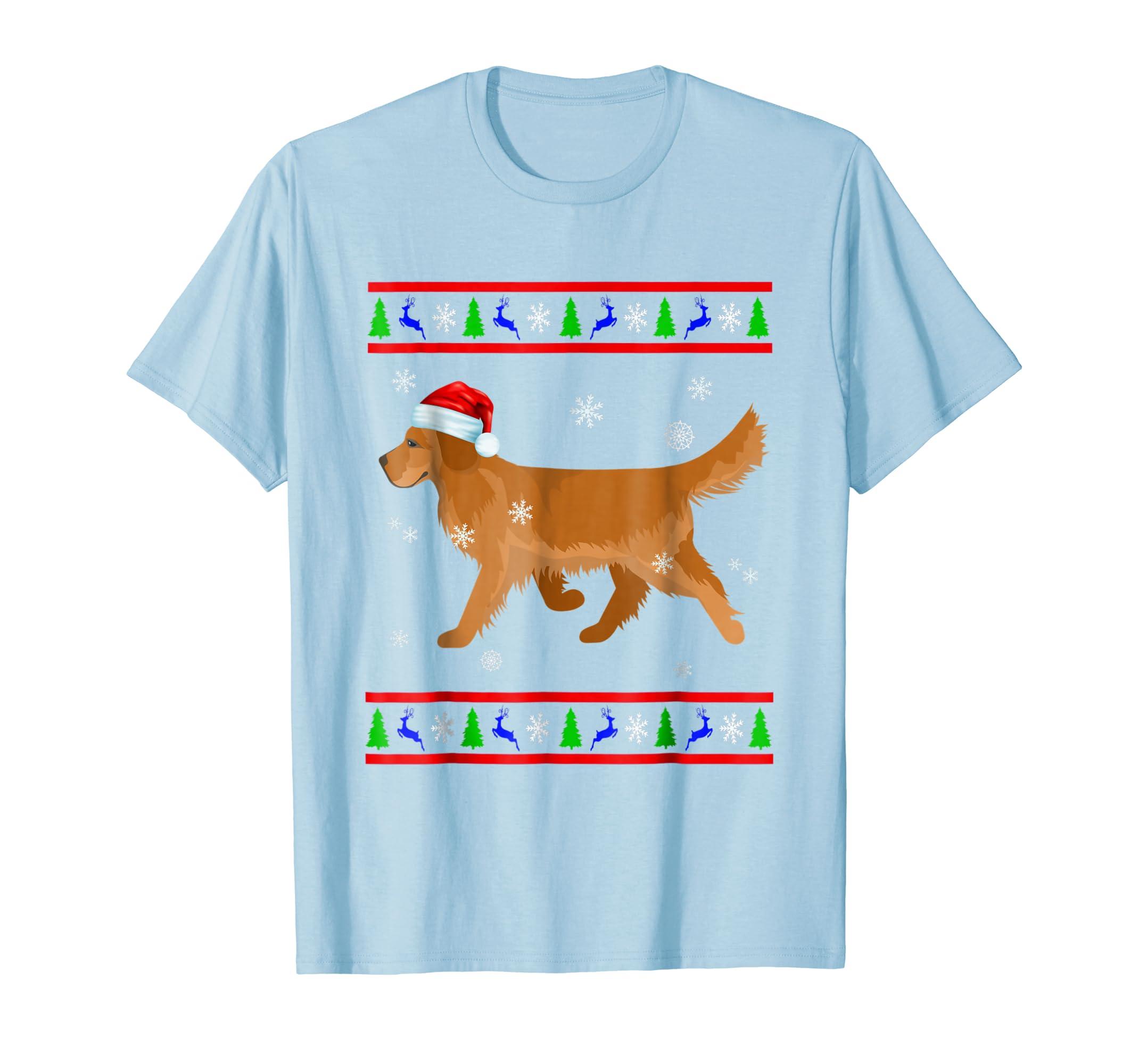 Christmas Santa Hat Golden Retriever Pajamas T Shirt-Teechatpro c5ec48525