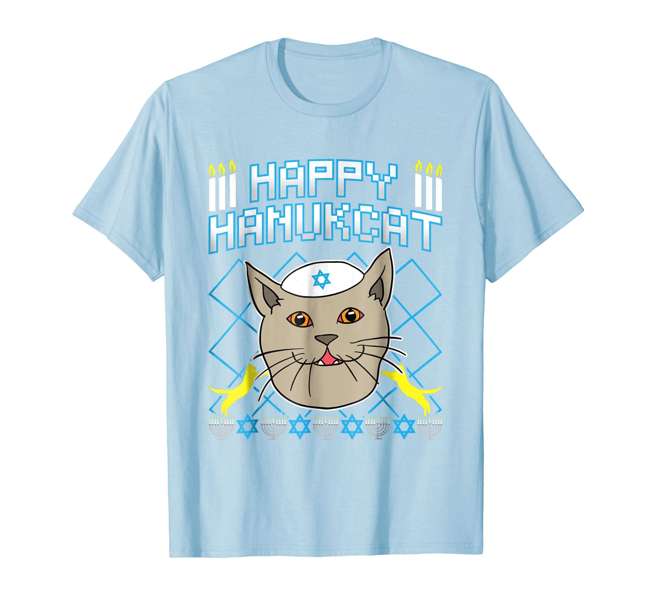 Jewish Christmas Sweater.Happy Hanukcat T Shirt Jewish Cat Ugly Christmas Sweater Tee Teechatpro