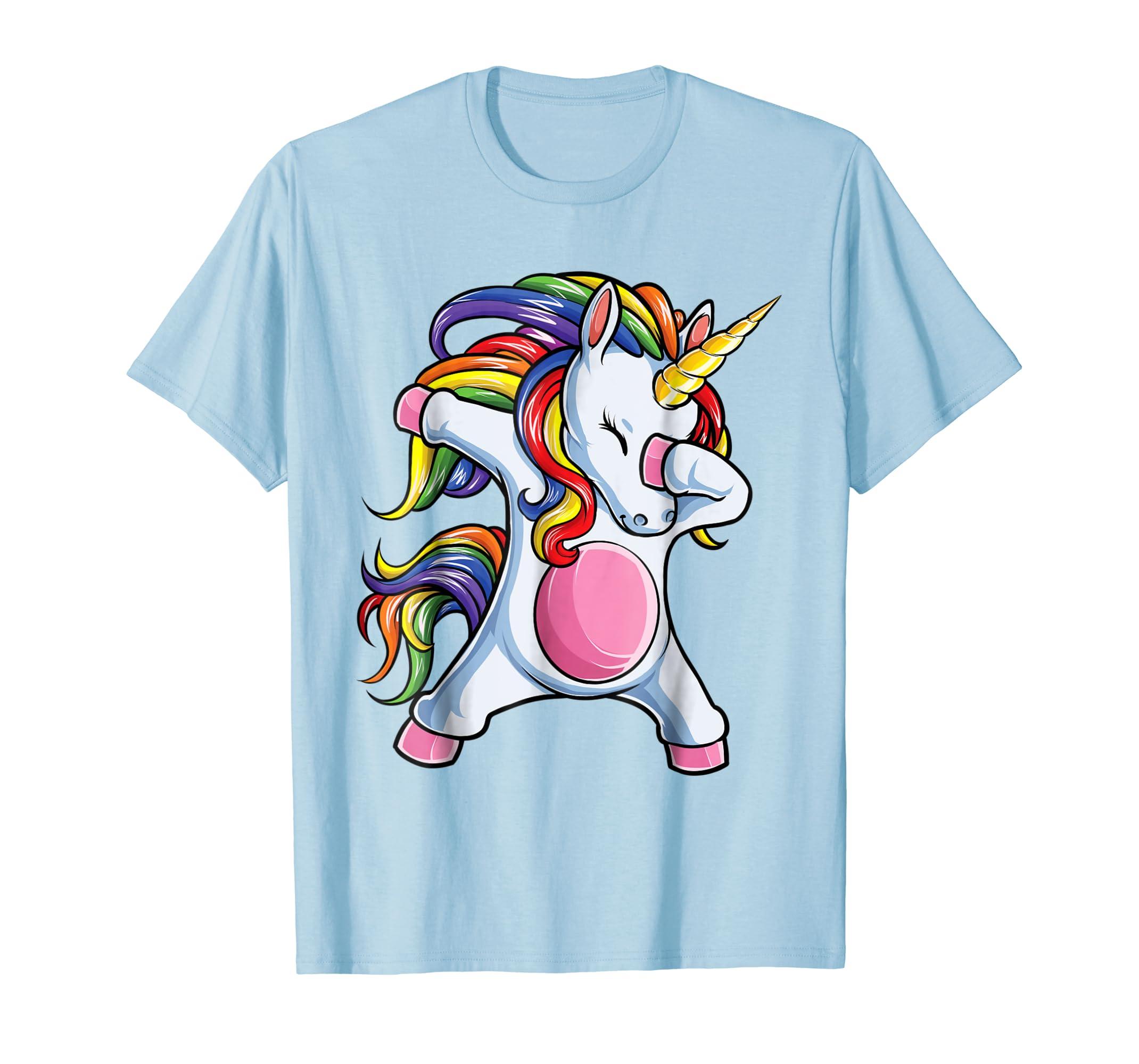 Dabbing Unicorn T shirt Girls Gifts Kids Boys Rainbow Dab-mt