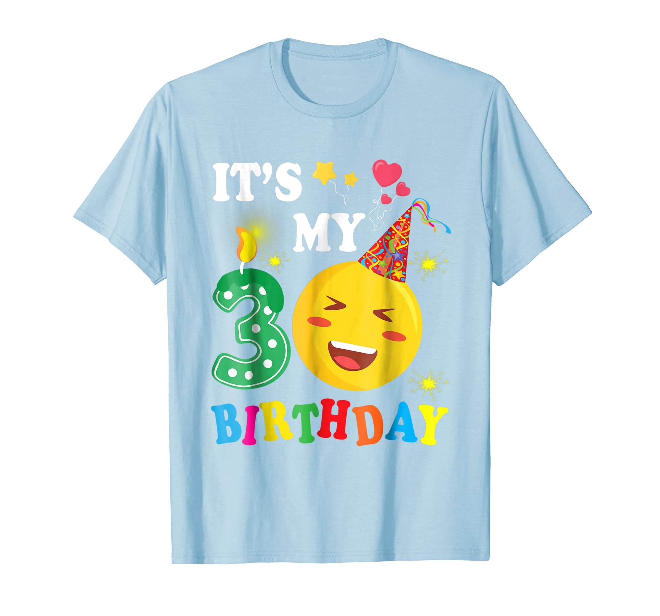 Balloons Candles Stars Emotion Face Shirt It's My 3 Birthday-azvn