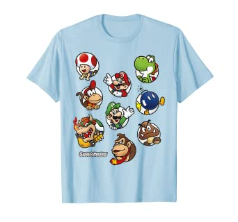 df044641 Image Unavailable. Image not available for. Color: Super Mario Group Shot  Good And Bad Guys Graphic T-Shirt