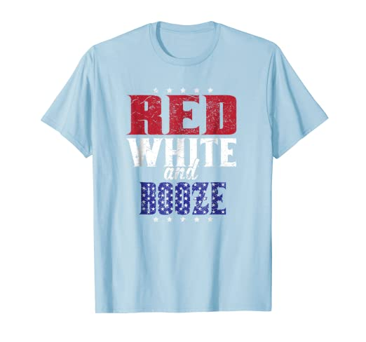 f944b00d Image Unavailable. Image not available for. Color: 4th Of July Red White  and Booze Drinking Shirt