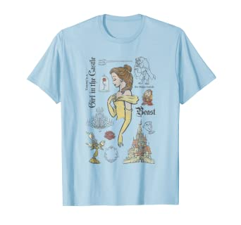 Image result for Disney Beauty And The Beast Characters Sketched T-Shirt