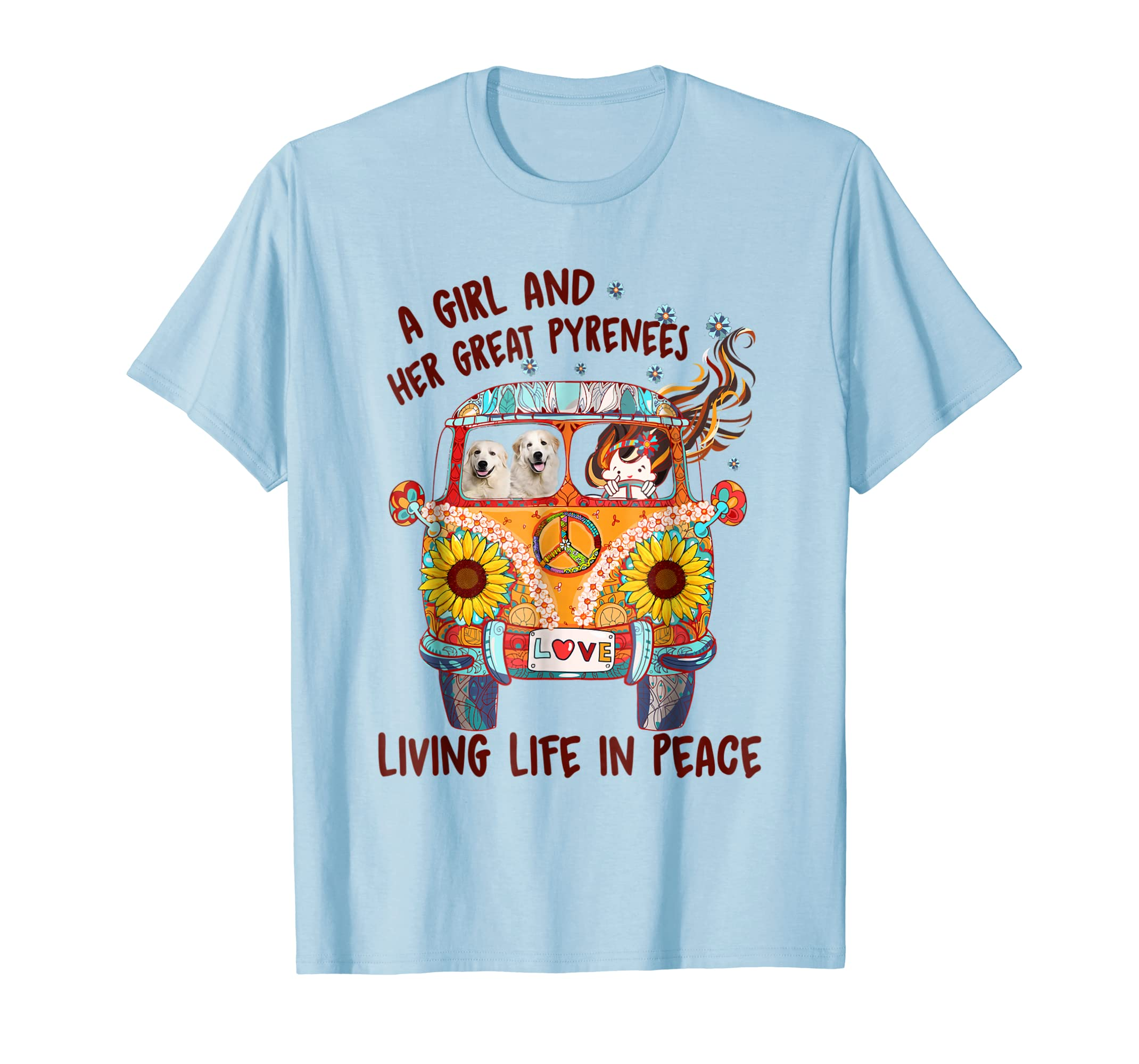 A girl and her Great Pyrenees living life in peace shirt