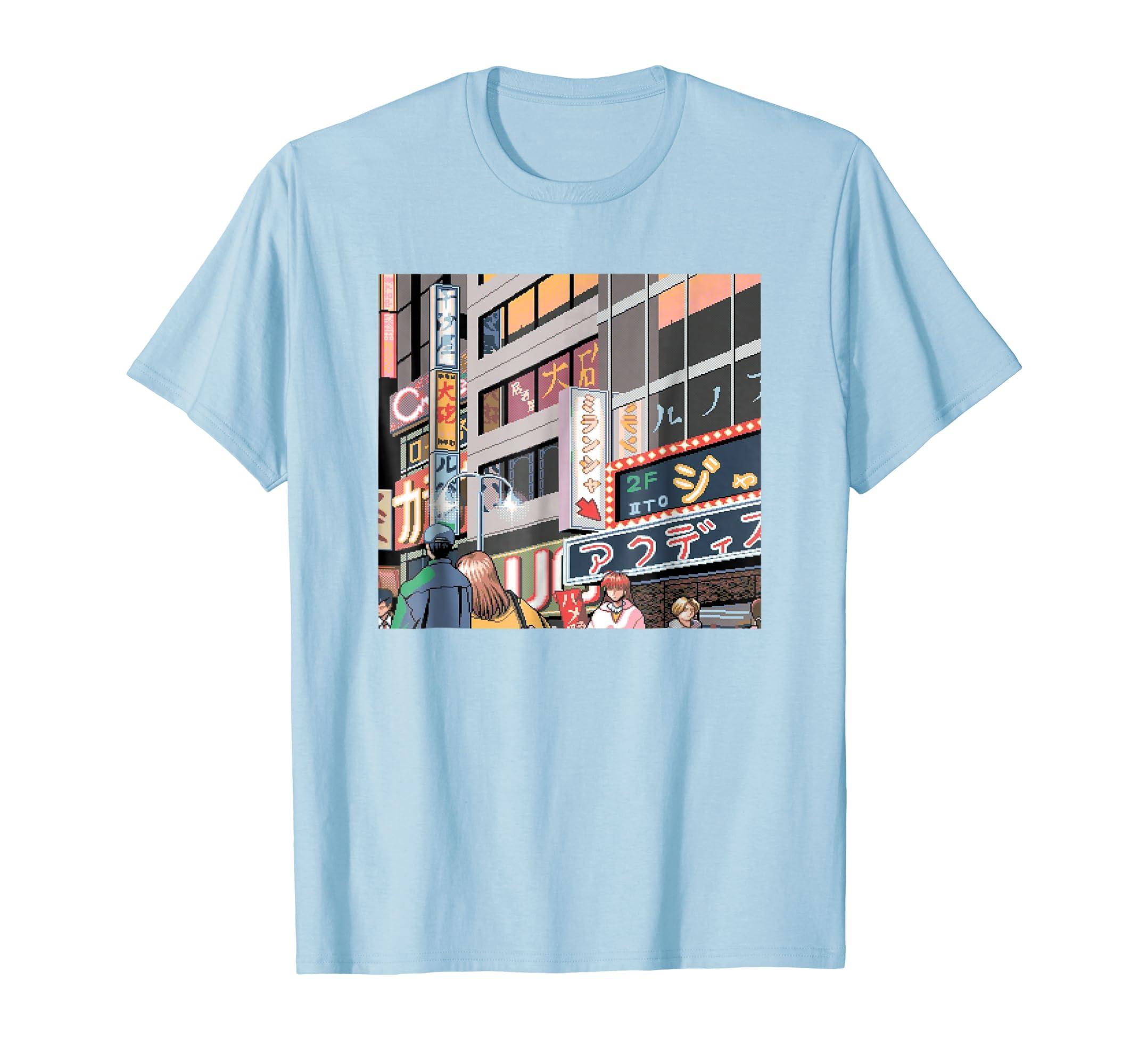 Neon Night Tokyo Japan Neon Signs Anime 8 Bit City T Shirt-Colonhue