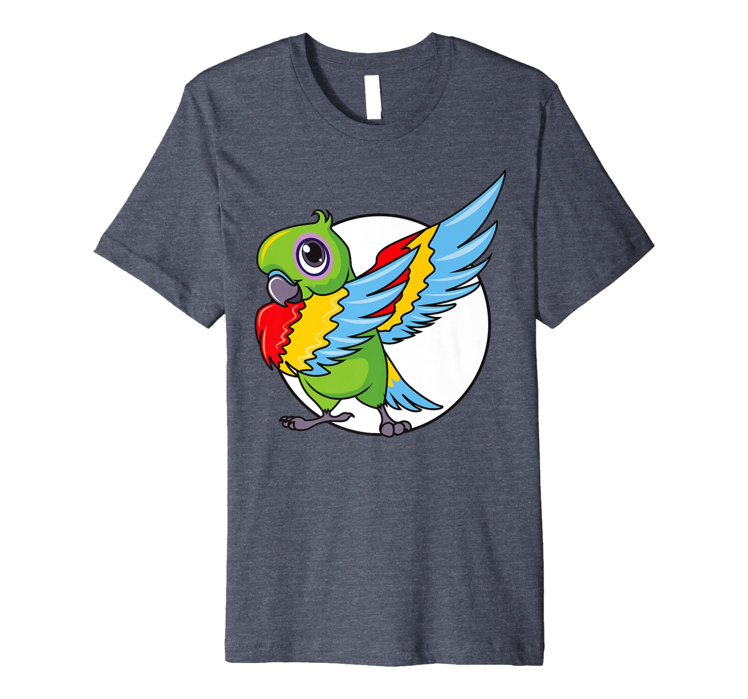Cute Dabbing Great Green Macaw Parrot Bird Women Mens Girls Premium T-Shirt-ANZ