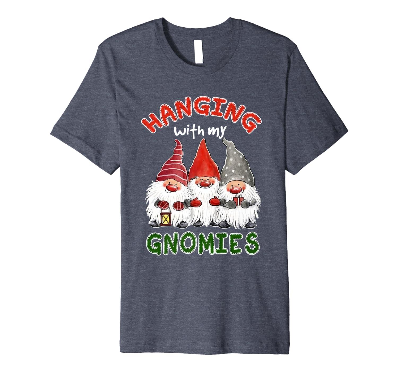 Santa Gardening Gnome Christmas Tee Hanging With My Gnomies Premium T-Shirt-TH