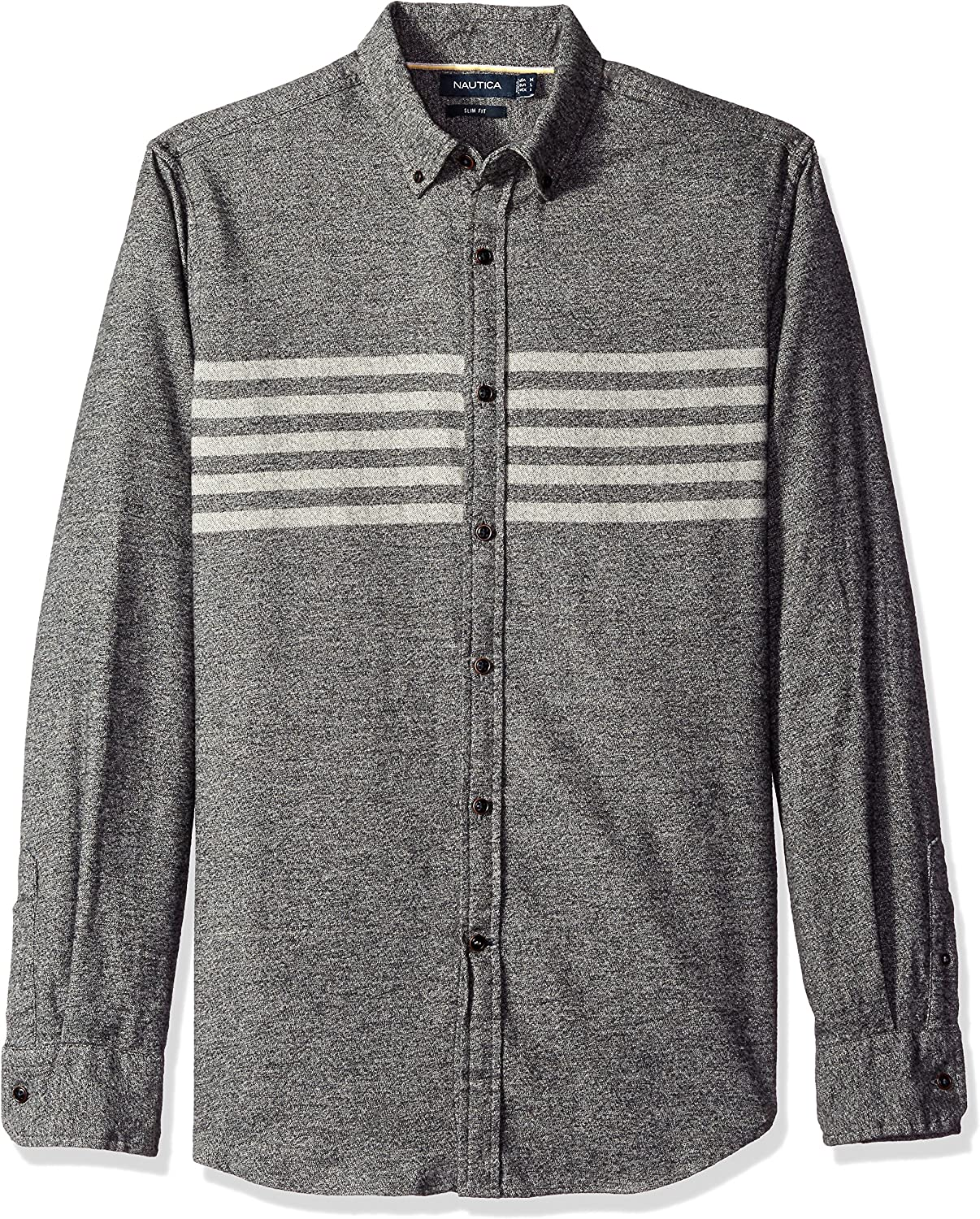 Clearance SALE! Limited time! Nautica Men's Slim Max 84% OFF Fit Moleskin Chest Striped Shirt