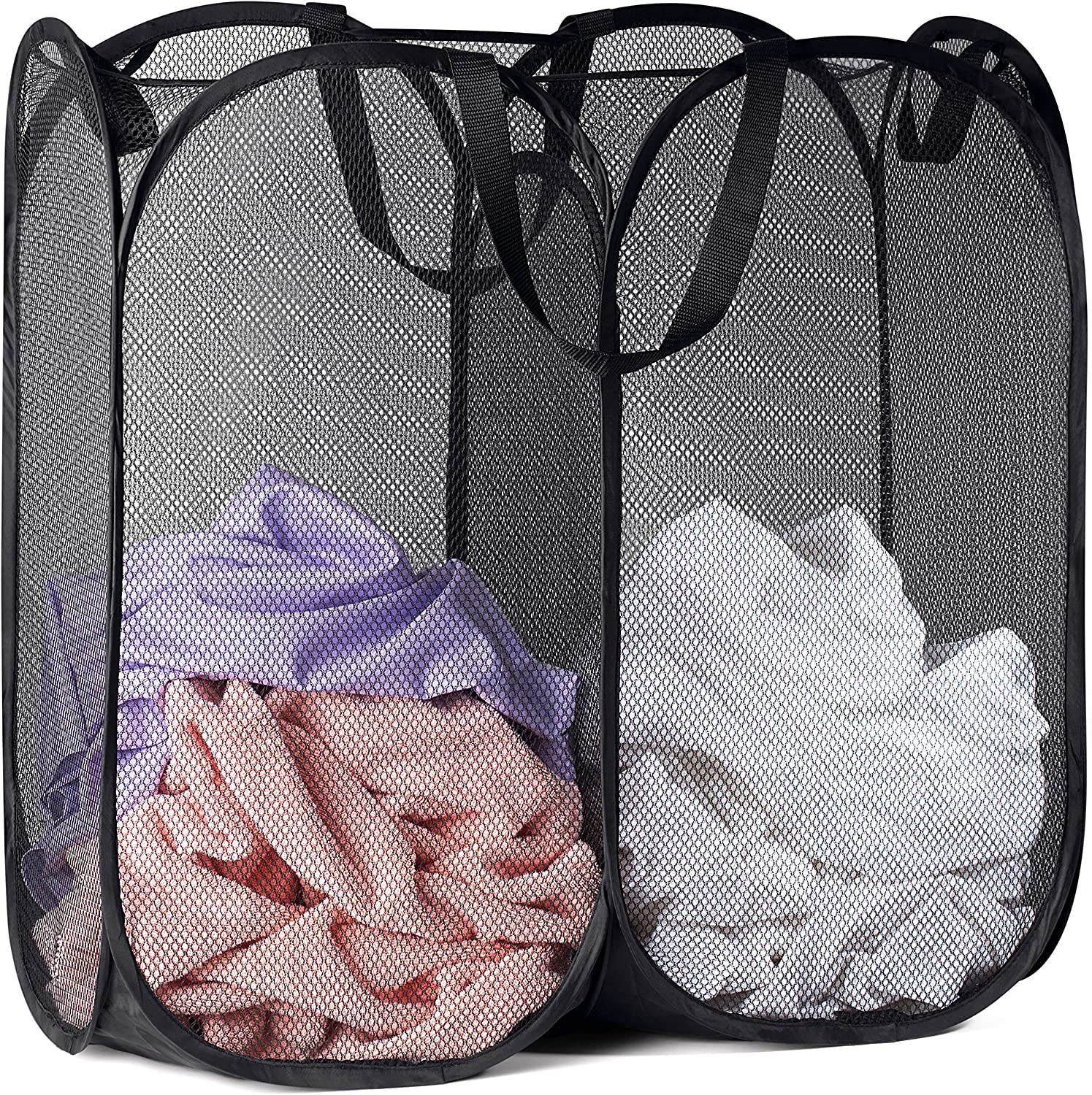 Mesh Popup Laundry Latest item Hamper - Collapsible St Compartments Indianapolis Mall for Two