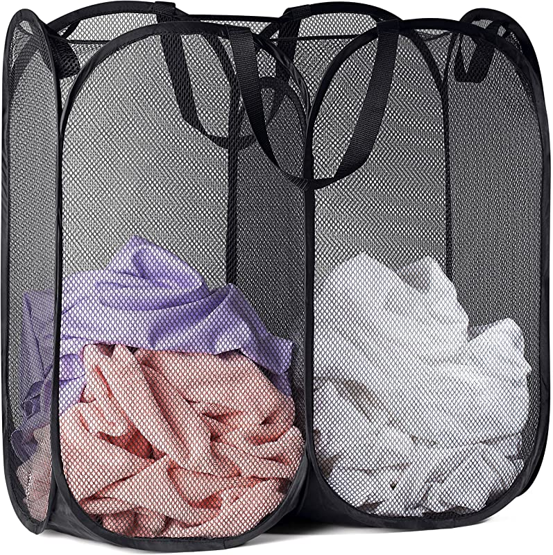 Mesh Popup Laundry Hamper Portable Durable Handles Collapsible For Storage And Easy To Open Folding Pop Up Clothes Hampers Are Great For The Kids Room College Dorm Or Travel Black