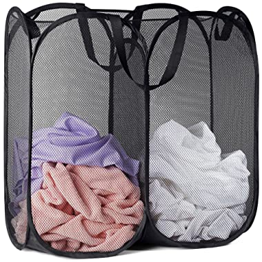 Mesh Popup Laundry Hamper - Two Compartments, Collapsible for Storage and Easy to Open. Folding Pop-Up Clothes Hampers are Great for The Kids Room, College Dorm or Travel. (Black)