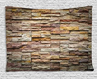 Ambesonne Marble Tapestry, Urban Brick Slate Stone Wall with Rocks Featured Facade Architecture Town Picture, Wide Wall Hanging for Bedroom Living Room Dorm, 80