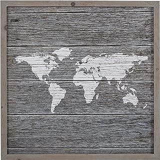 Global Map Gray Wood Framed Print Wall Art, 14