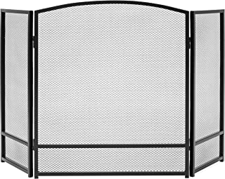 Best Choice Products 3-Panel Living Room Steel Mesh Simple Design Fireplace Screen Home Decor w/Rustic Worn Finish, Black