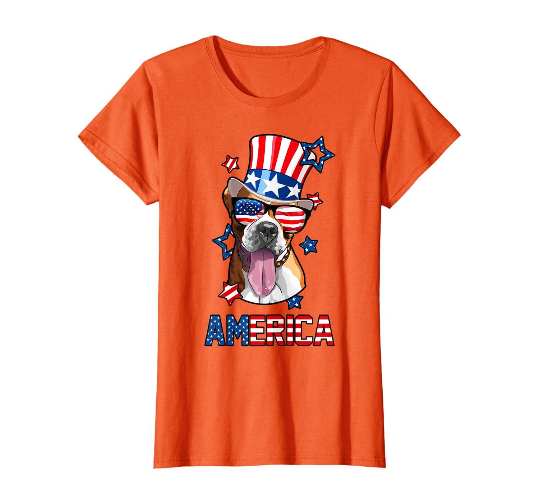 America Boxer Dog Owner 4th Of July Mens Womens Usa Flag T-shirt Unisex Tshirt