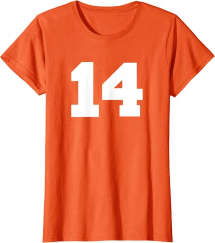 Donna Number 14 Sports Jersey Player #14 Fan FRONT PRINT Varsity Maglietta con Collo a V