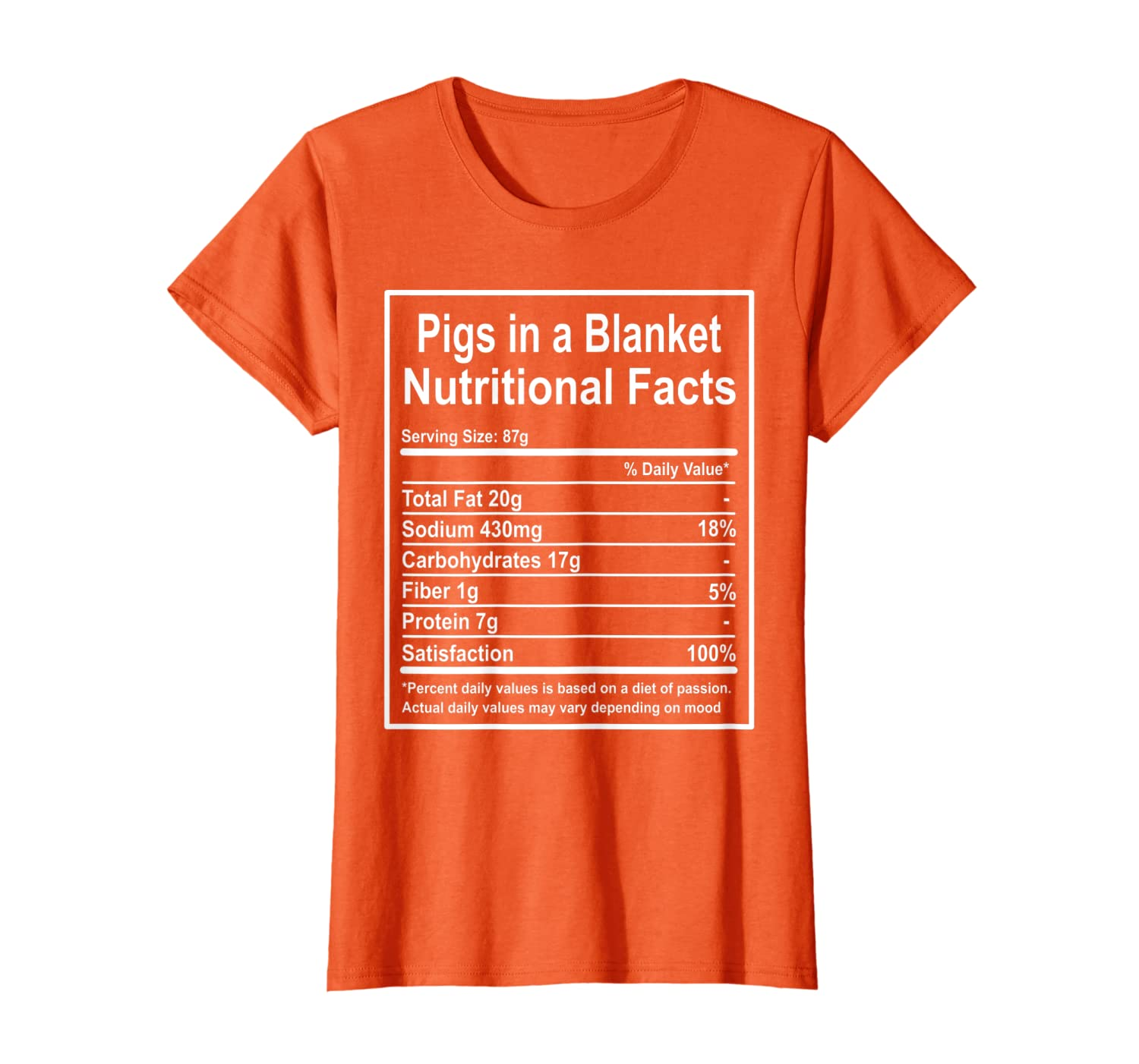 Funny Pigs In A Blanket Nutritional Facts Christmas Gift T-Shirt
