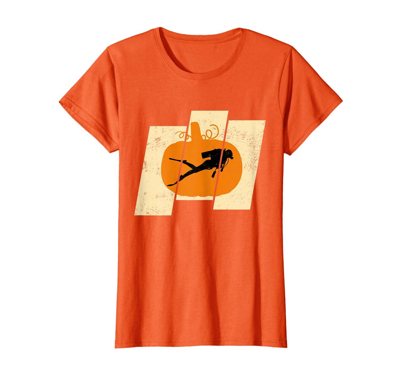 Vintage Pumpkin Scuba Diving Sports Halloween T-shirt Unisex Tshirt