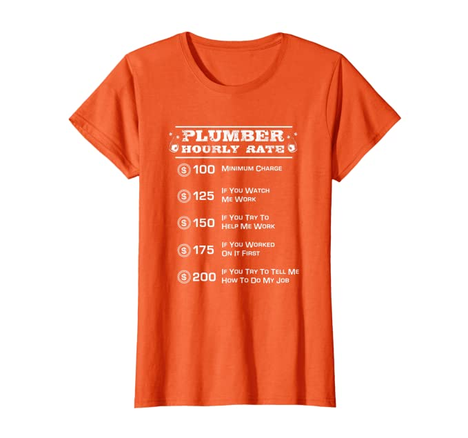 Funny Plumber Hourly Rate Pricing Chart T-Shirt   Gift