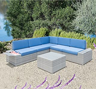 HANTENG Outdoor Furniture 6 Pieces Garden Patio Sofa Set   Wicker Rattan Sectional with Blue Cushions   No Assembly Required   Aluminum Frame   Grey   Ice Bucket