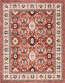 Safavieh CHL412Q-8 Charleston Collection CHL412Q Red and Ivory (8' x 10') Area Rug,
