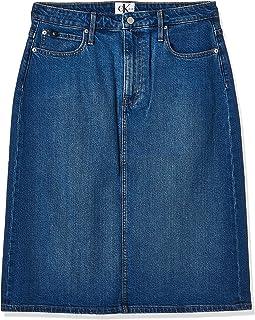 Calvin Klein Jeans Women's Iconic Midi Skirt, Blue (Iconic Dark Stone 911), NI32