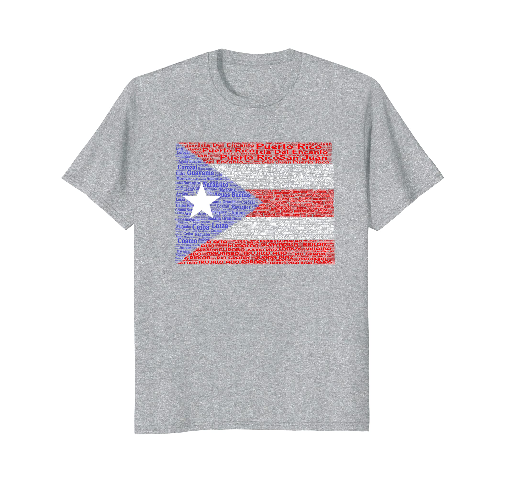 Amazon.com: Puerto Rico, Isla Del Encanto Flag with 78 cities Word Art: Clothing