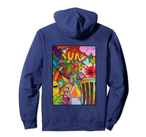 Summer Sun Colorful Doodle Art Cute Comic Monster Skateboard Pullover Hoodie