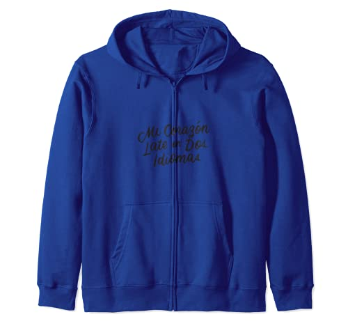 Mi Corazon Late En Dos Idiomas Bilingual Spanish Teacher Zip Hoodie