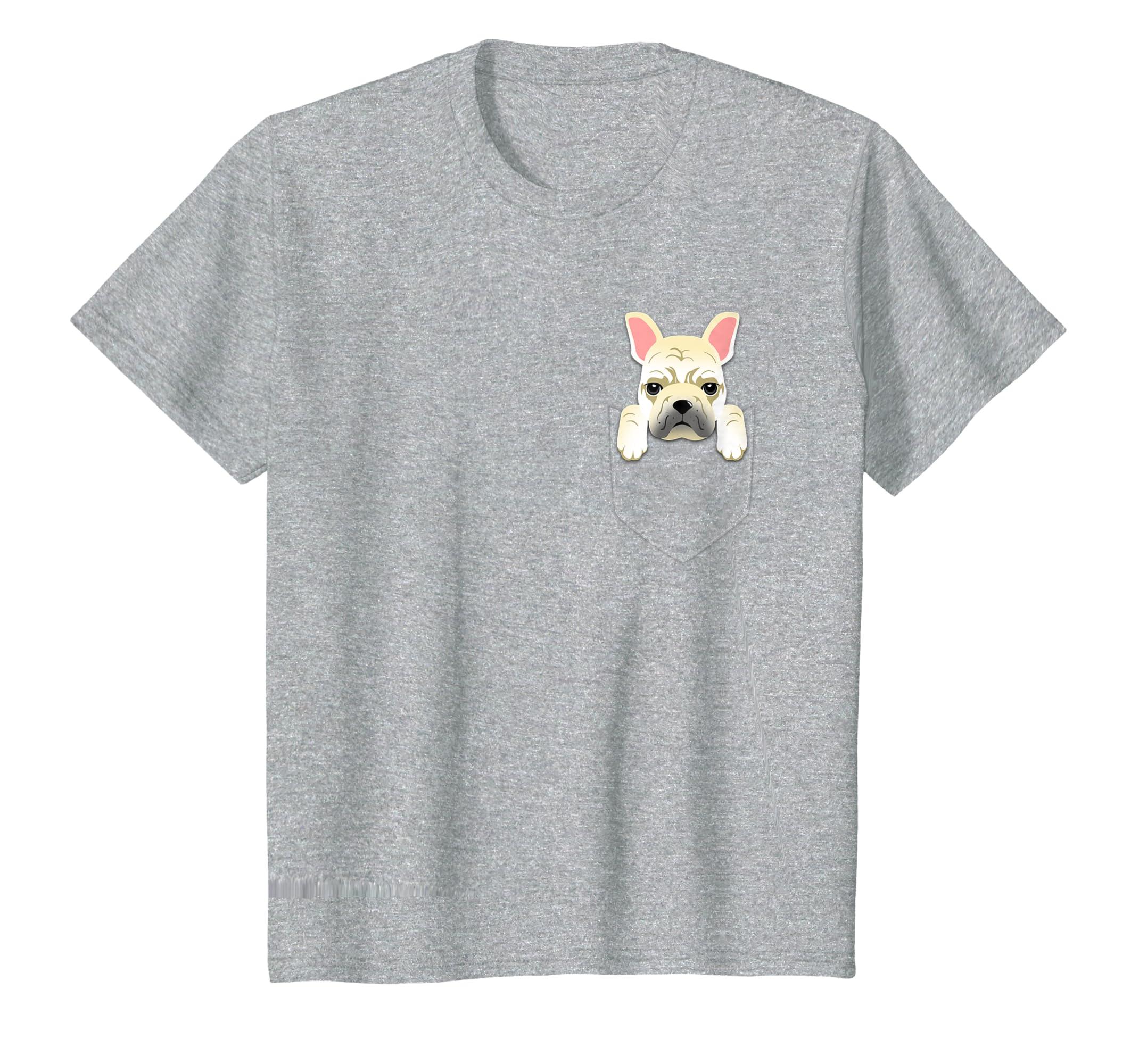 ee4989c1c Amazon.com: Cream French Bulldog Pocket Graphic T-Shirt Frenchie Dog Tee:  Clothing