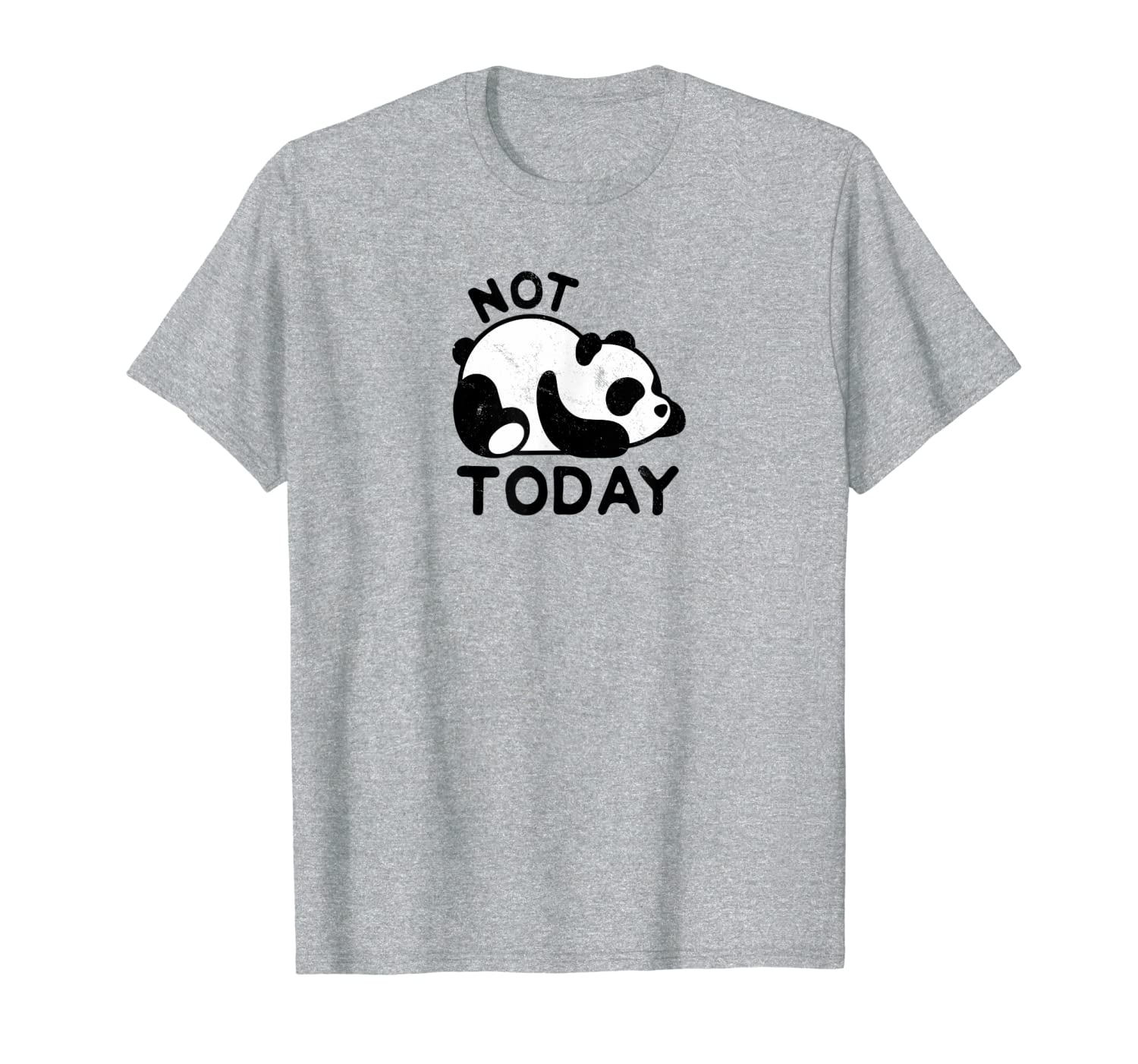 Cute Lazy Panda Not Today Nope Distressed T-Shirts-TH