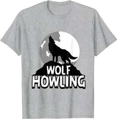 Moon Wolf Homme Animal Visage T-shirt loup-garou Américain Horreur Camping Halloween