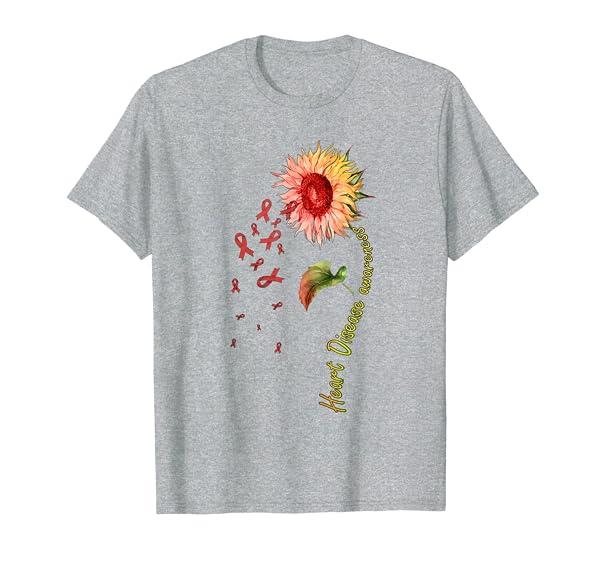 Heart Disease Awareness Sunflower T-Shirt