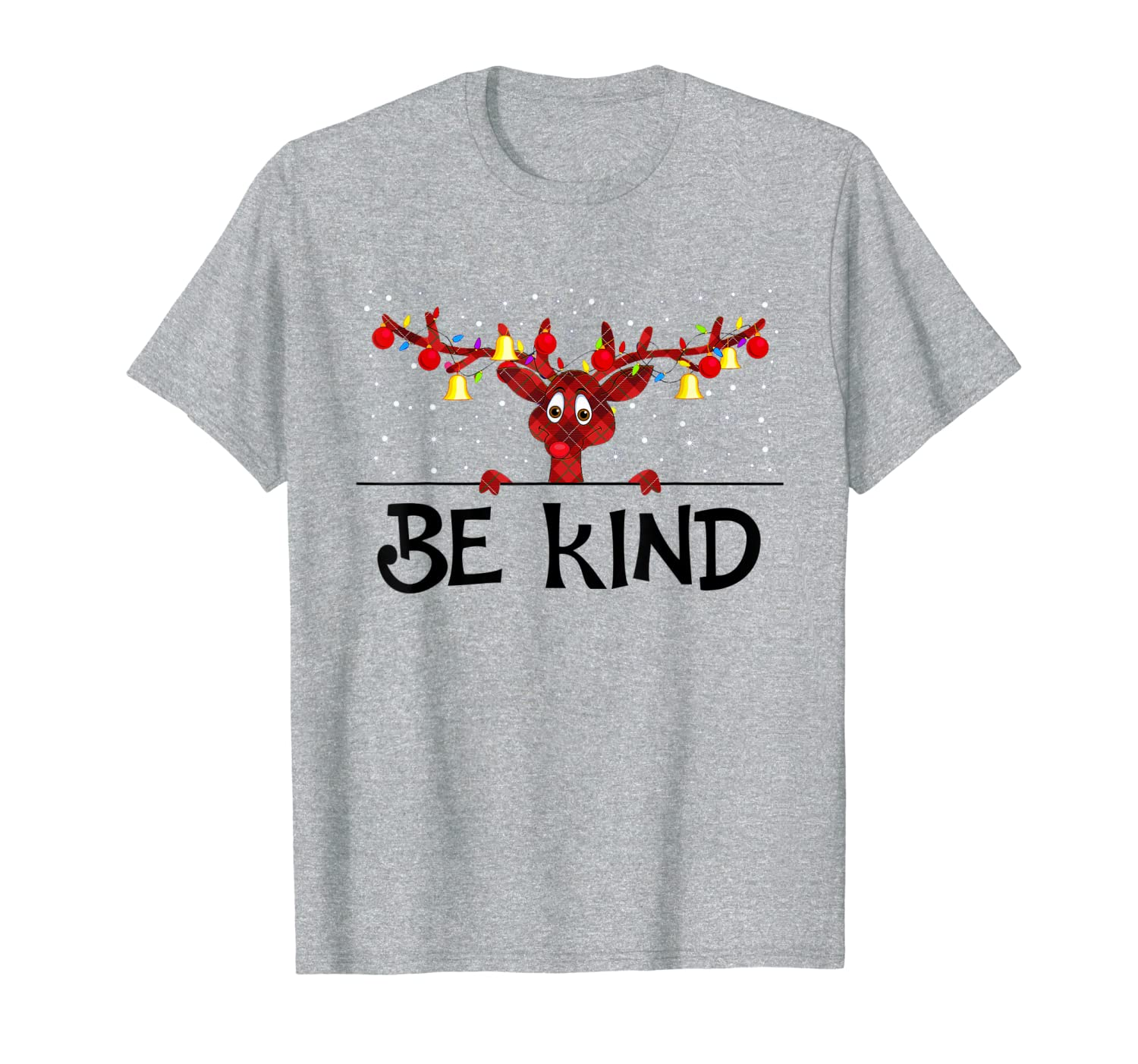 Be Kind Christmas Reindeer lover Santa Light T-Shirt