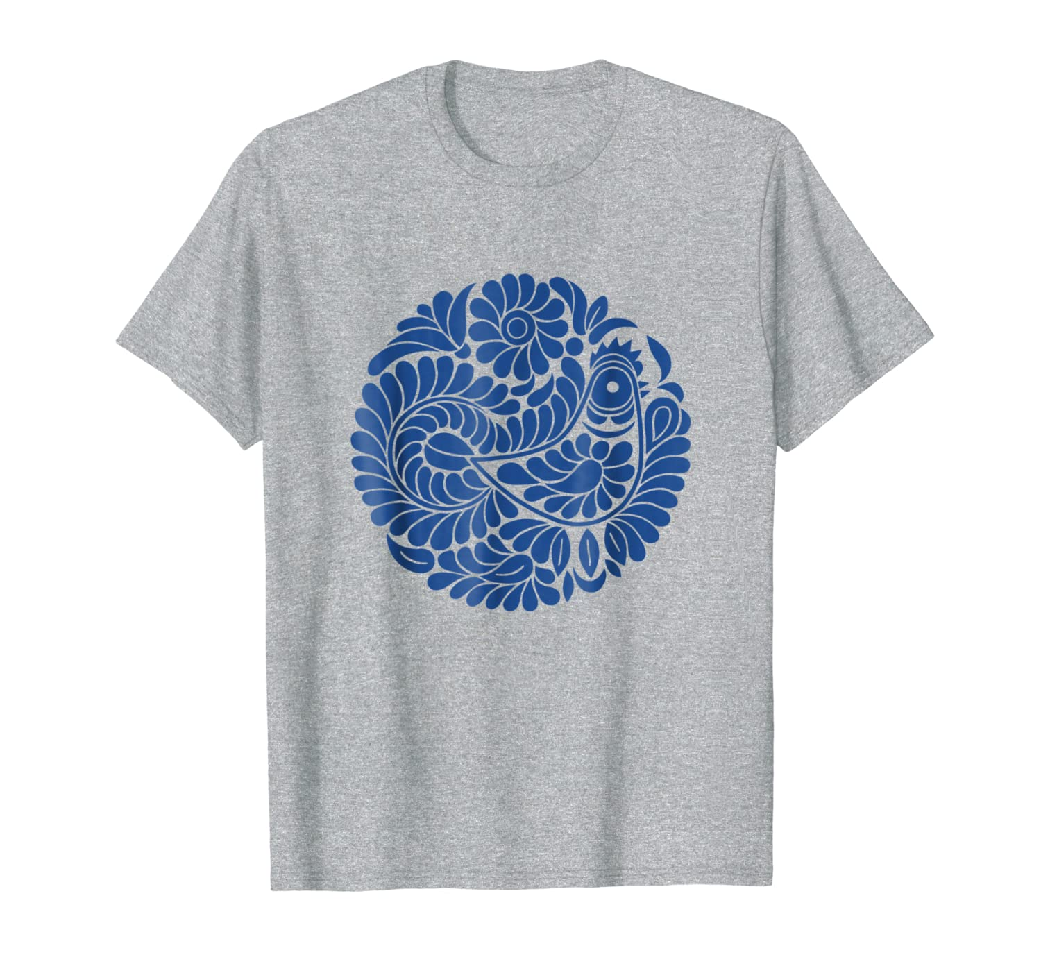 Ludovo: Singing Bird Slovak Folklore Blue Design T-Shirt-ANZ