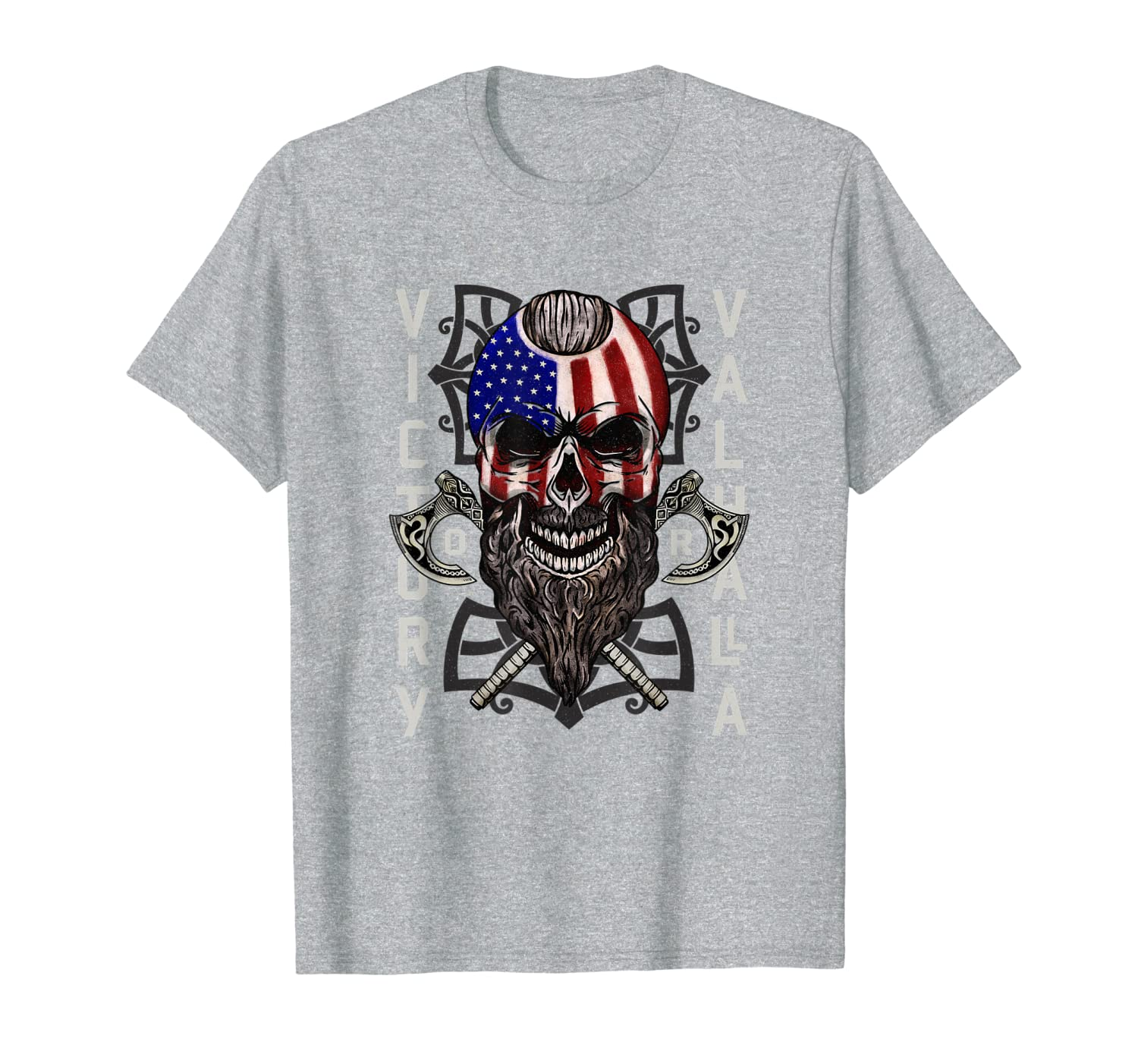 American Viking Victory Valhalla Axe & Skull Flag T-Shirt-TH
