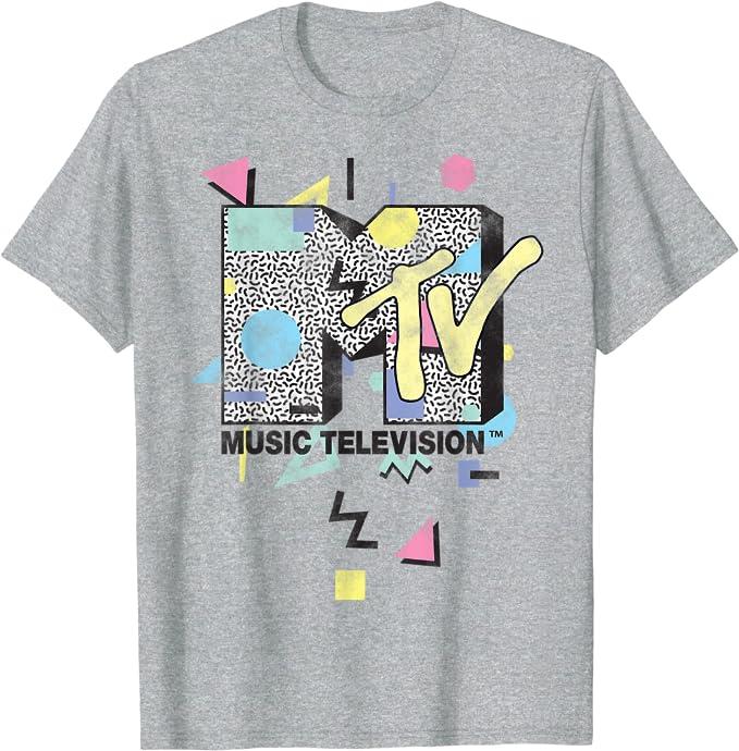 80s Men's Clothing   Shirts, Jeans, Jackets for Guys MTV Retro Shape Design Logo Graphic T-Shirt $19.99 AT vintagedancer.com