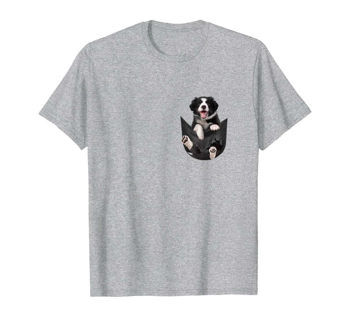 Border Collies Inside In Pocket Dog Lover T shirt Funny Cute-Men's T-Shirt-Sport Grey