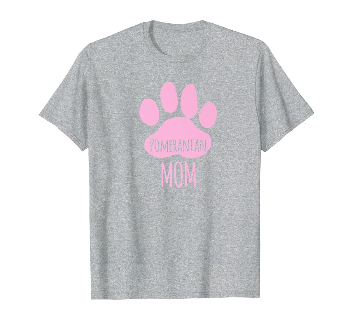 Cute Pomeranian Mom T Shirt for Pom Owner Dog Paw Pink-Men's T-Shirt-Sport Grey