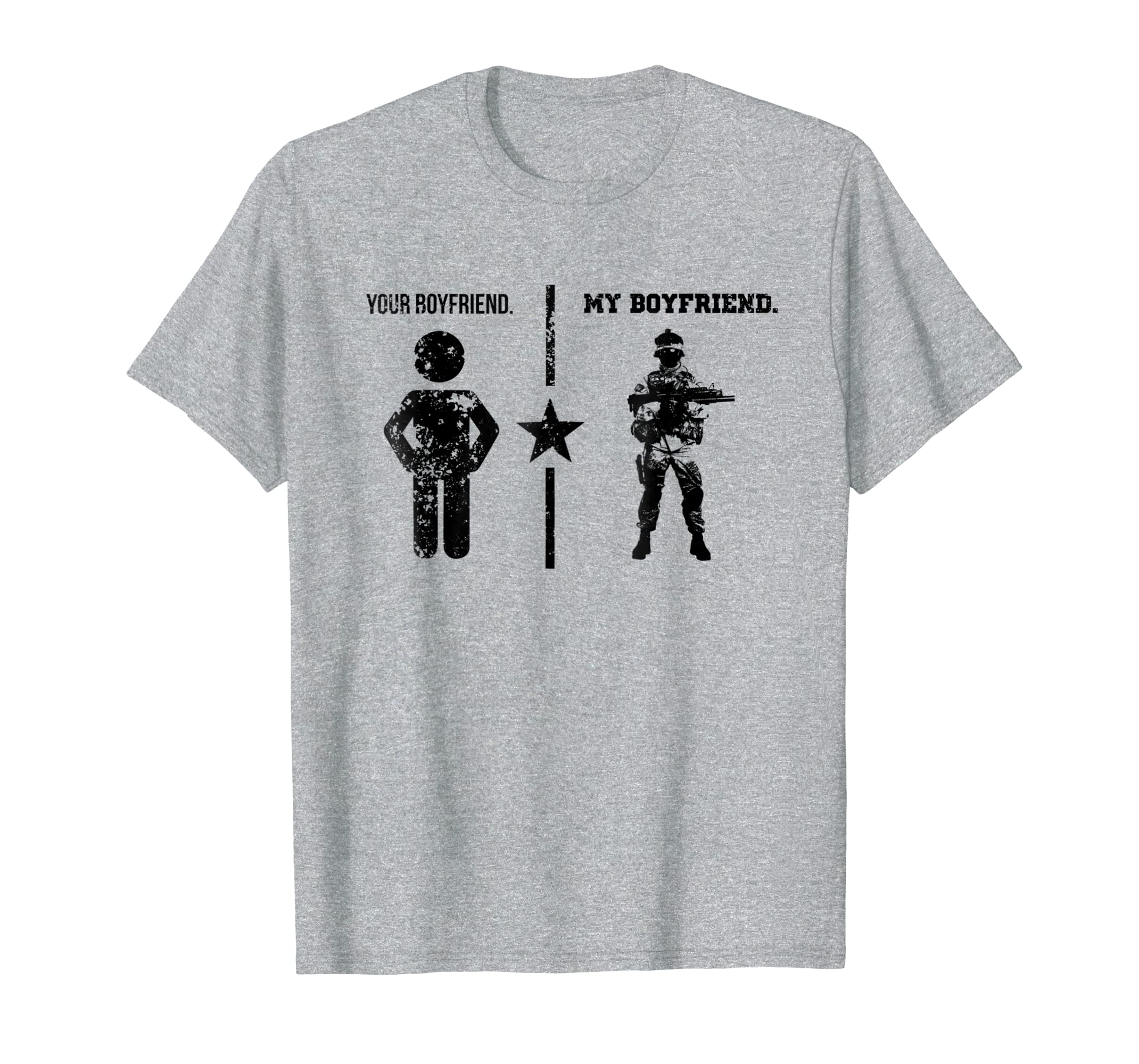 Amazon.com: Mens Proud Army Boyfriend T Shirt My Boyfriend ...