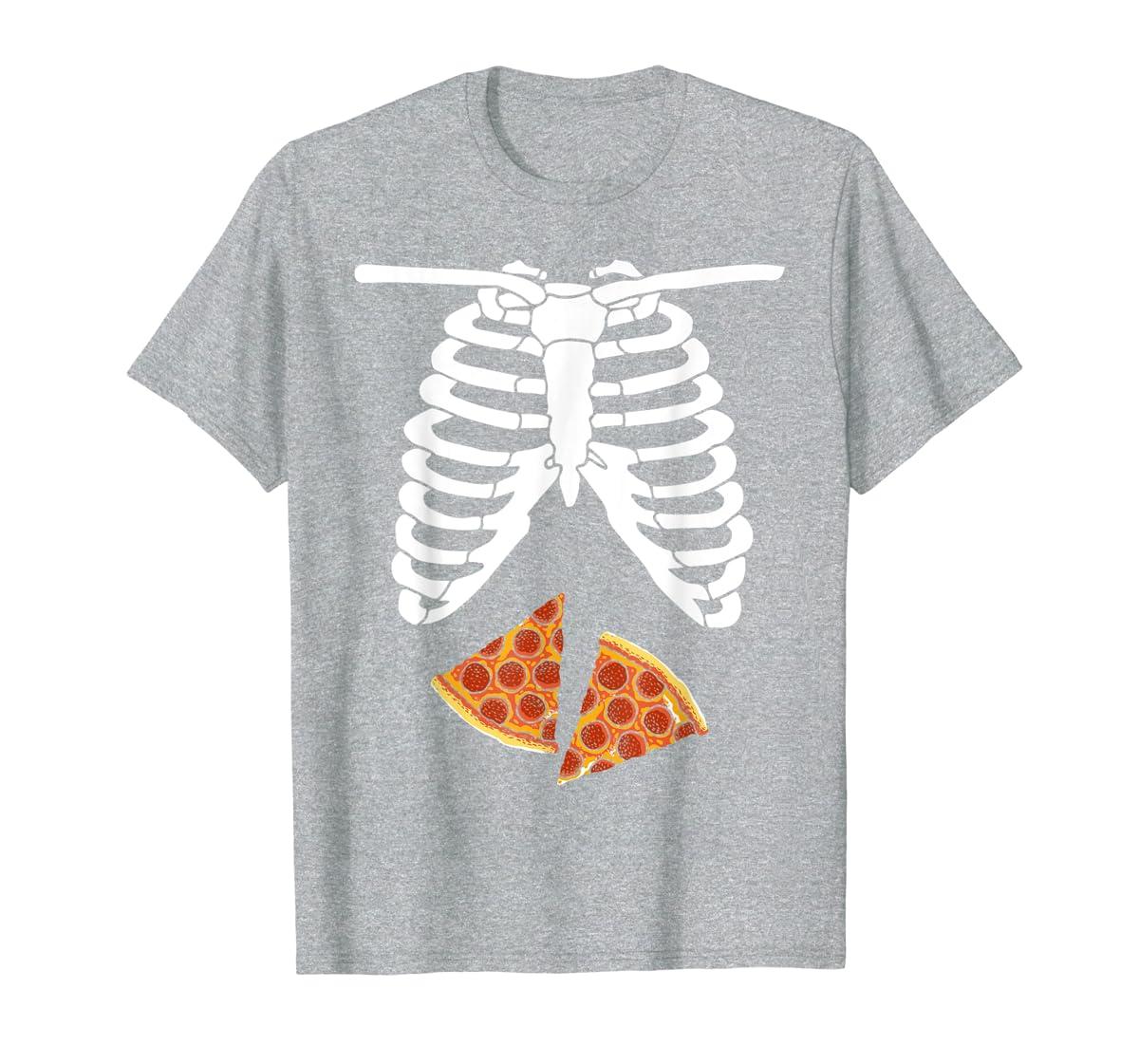 Halloween Skeleton Xray Pizza Slices Costume Rib Cage Easy T-Shirt-Men's T-Shirt-Sport Grey