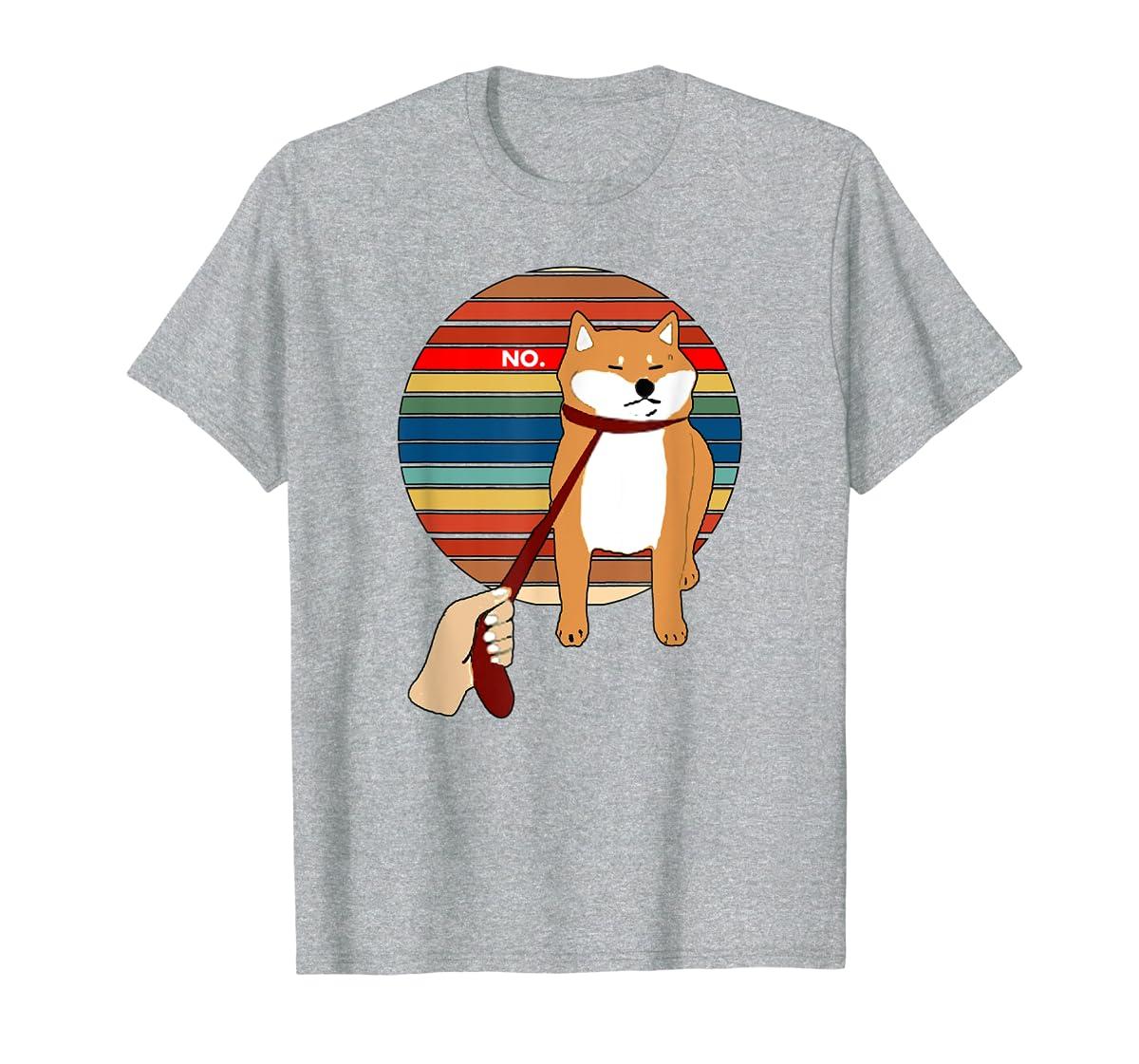 Cute Vintage Retro Shiba Inu Nope Dog Tee Shirt-Men's T-Shirt-Sport Grey