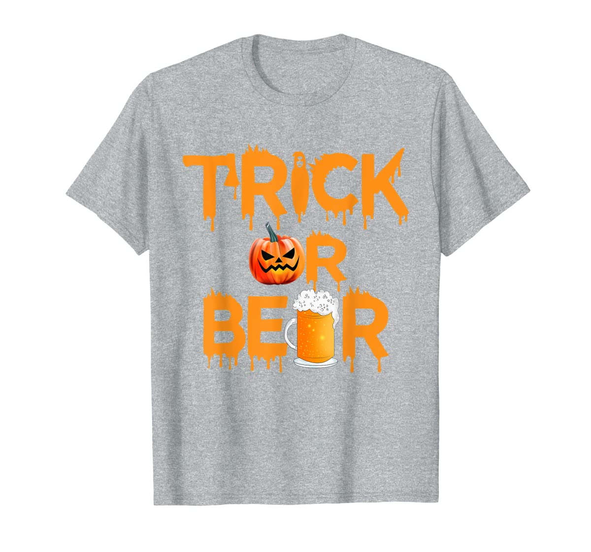 Halloween Costume Trick or Beer Drinking T Shirt Pumpkin Men T-Shirt-Men's T-Shirt-Sport Grey