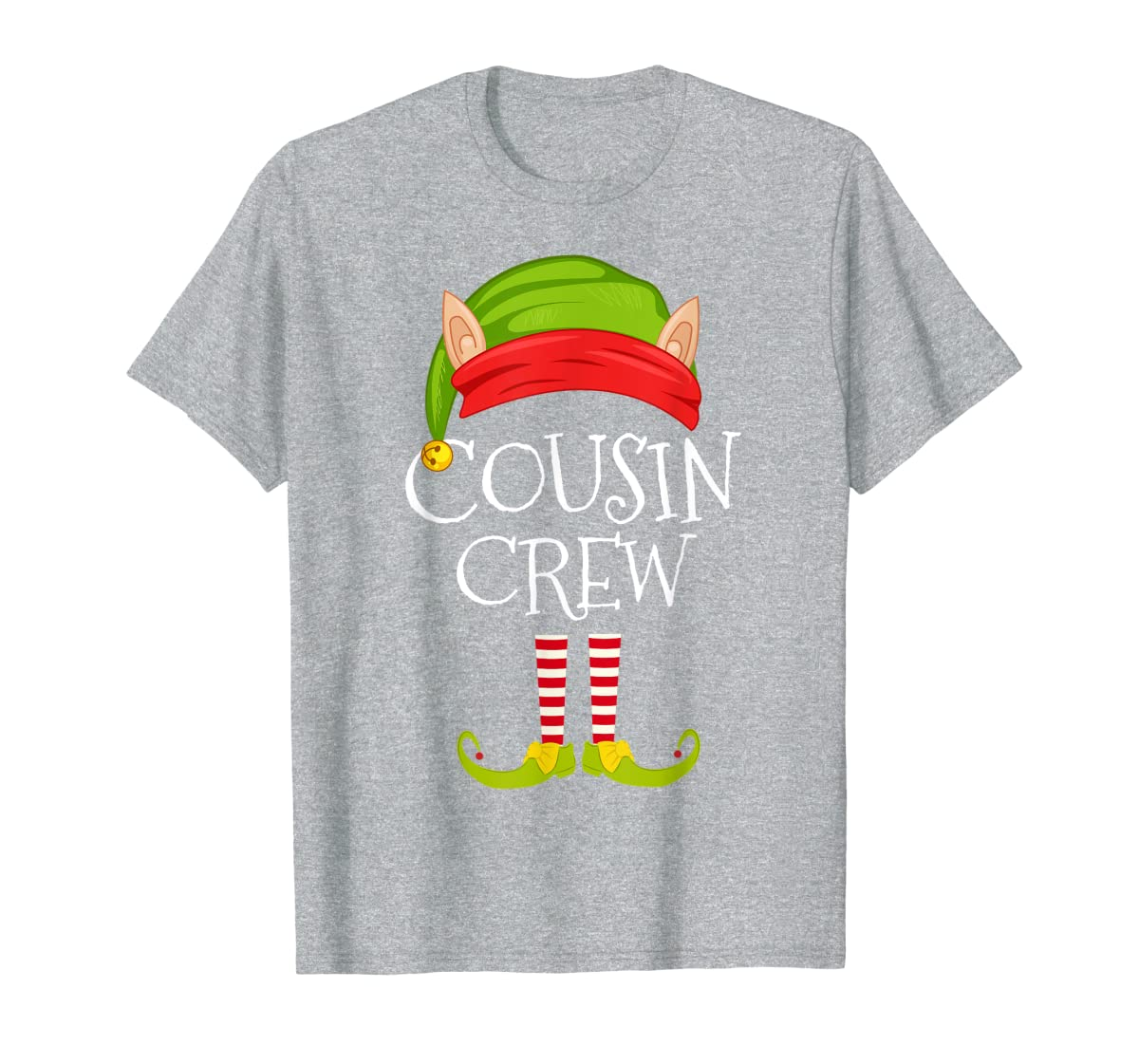Christmas Family Matching Costume Cousin Crew Elf Xmas T-Shirt-Men's T-Shirt-Sport Grey