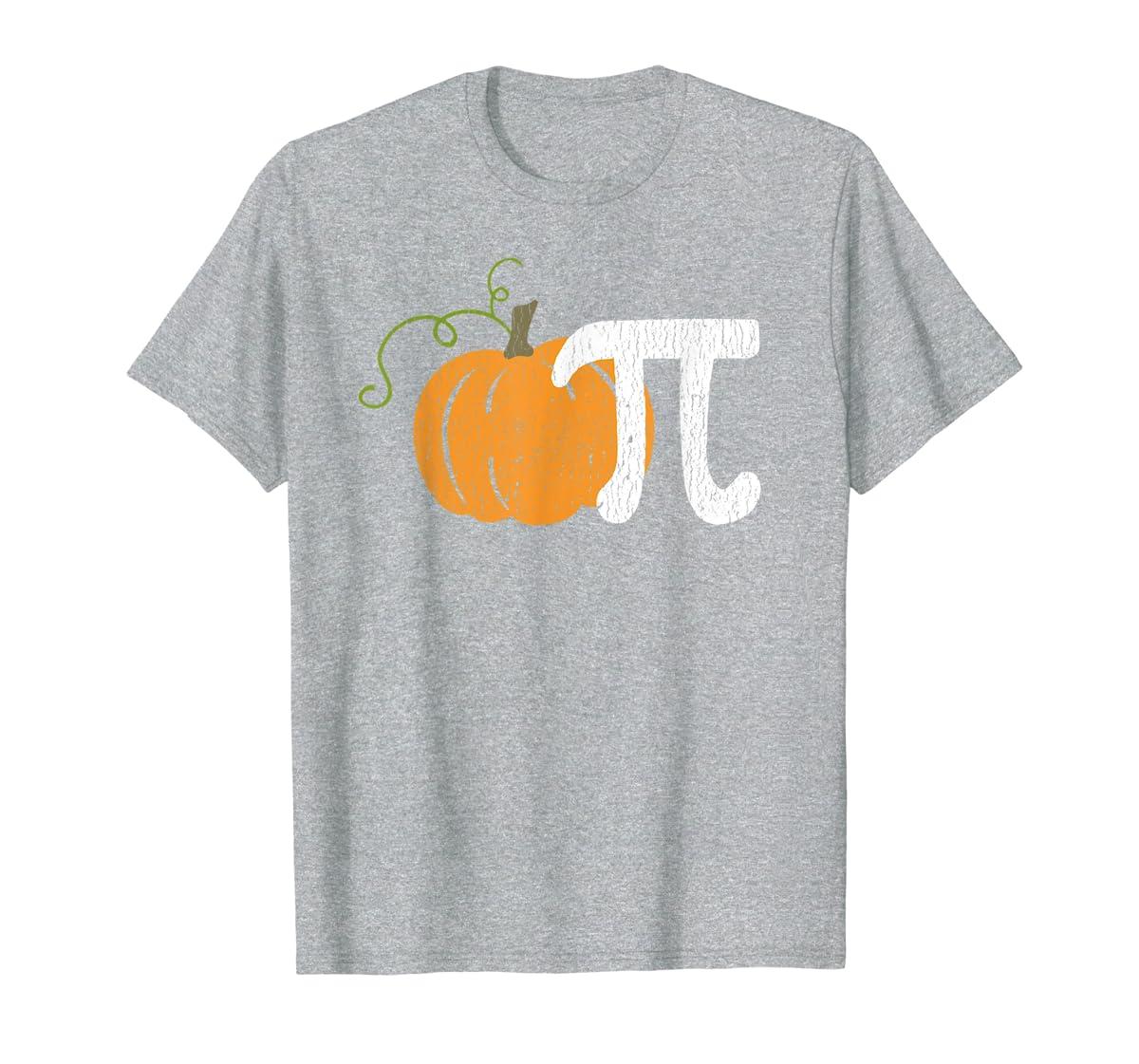 Funny Pumpkin Pie Math Teacher Halloween Pi Humor T-Shirt-Men's T-Shirt-Sport Grey