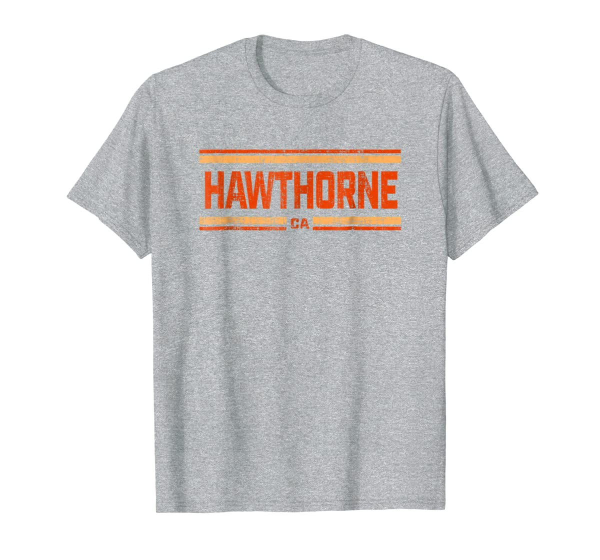Retro Vintage Hawthorne CA Distressed T-Shirt-Men's T-Shirt-Sport Grey