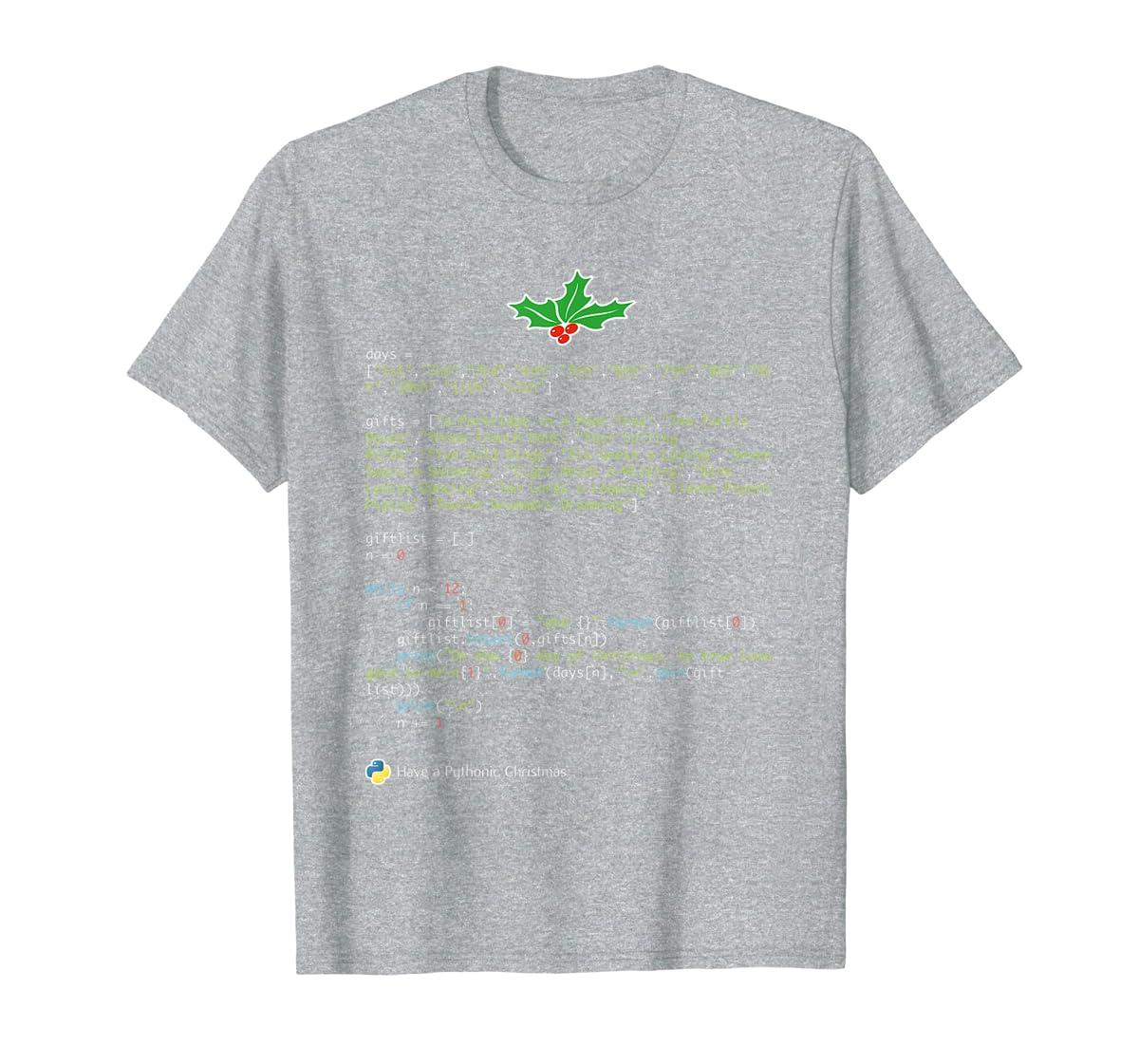 Geek Christmas Xmas - 12 Days of Python T-Shirt-Men's T-Shirt-Sport Grey