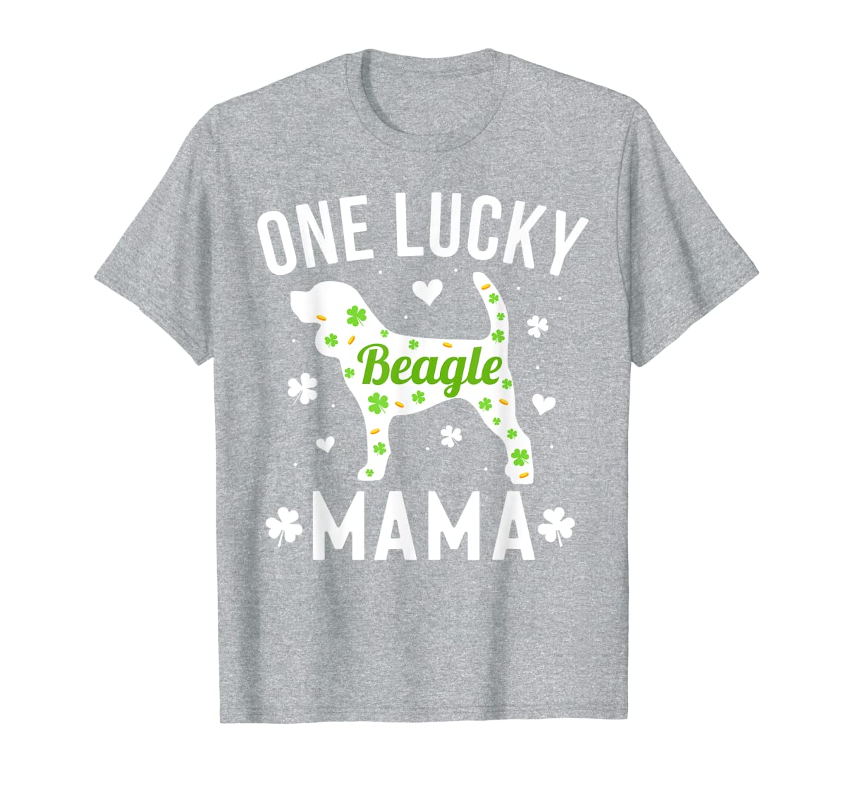 St Patricks Day Beagle Shirt Lucky Mama Mom Dog Gift Tee-Men's T-Shirt-Sport Grey